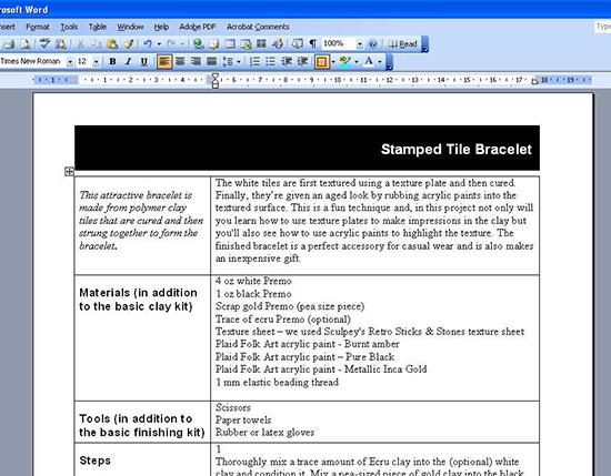 Tables 101 - organizing data using tables in Word
