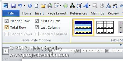 diy custom word table formats