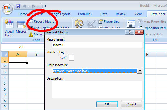 how to create personal macro excel 2010