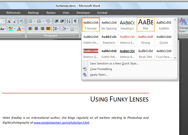 Word 2007 formatting with styles projectwoman microsoft word 2007 provides styles that you can use to format your documents spiritdancerdesigns Images