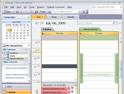 calendar 766343 Outlook 2007 create a new empty calendar