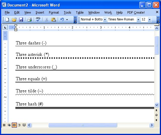 Drawing Lines With Word : How to draw a horizontal line in ms word