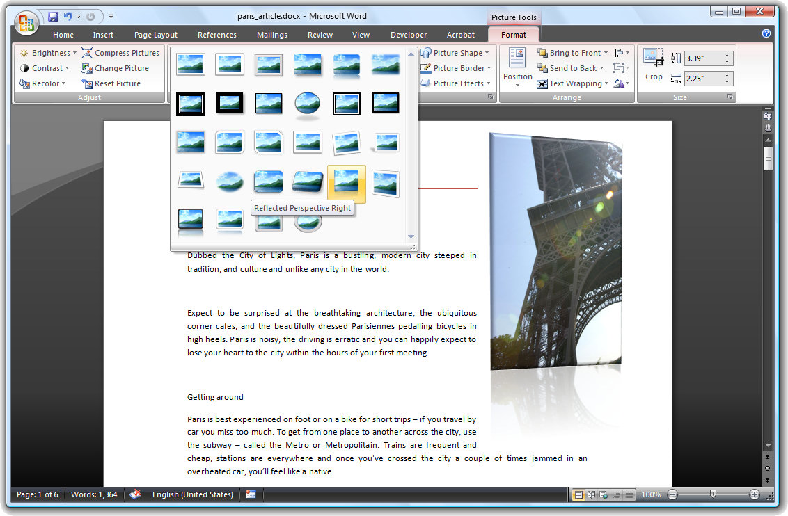 formatting pictures in word 2007