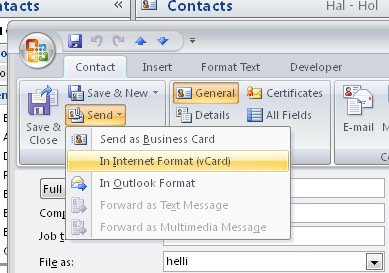 send 755812 Outlook Send a Contacts details via Email