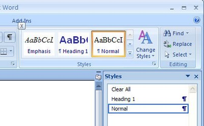 taskpane 767283 Showing the Styles pane in Word 2007
