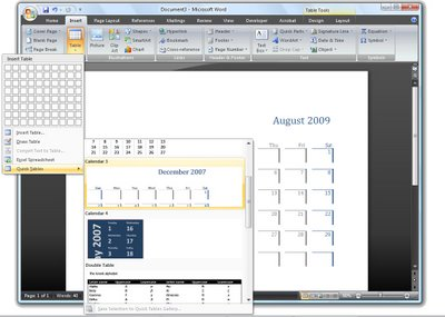 word quicktable 723924 Word 2007   instant tables