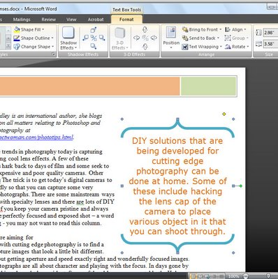 word textbox 783708 Word 2007   Instant Document Elements