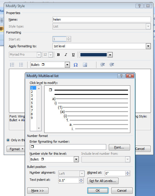 bullet Custom bullet layouts in Microsoft Word 2007