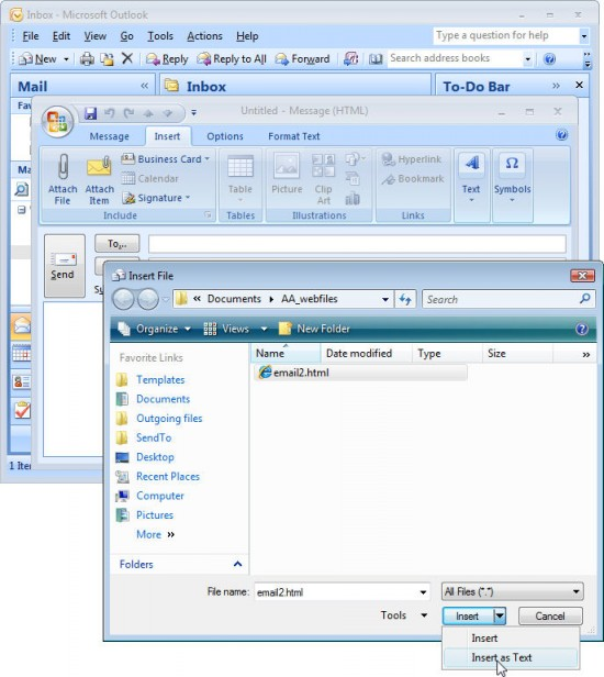 ol insert e1276051532626 Inserting text in an Outlook 2007 email