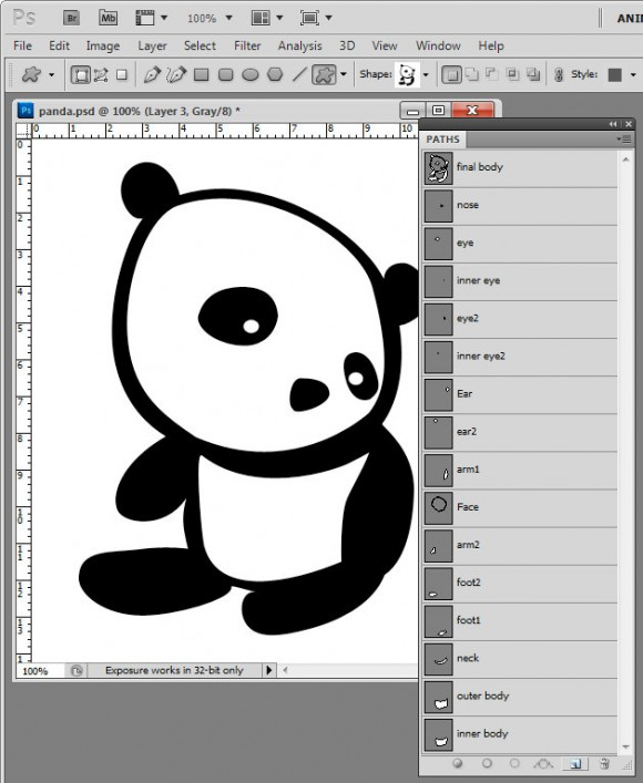 Photoshop kawaii panda shape build e1293744741889 Kawaii Panda Shape   free download