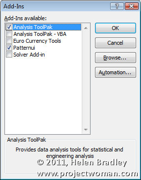 Excel 2007 2010 analysis toolpak lookup wizard solver add-in