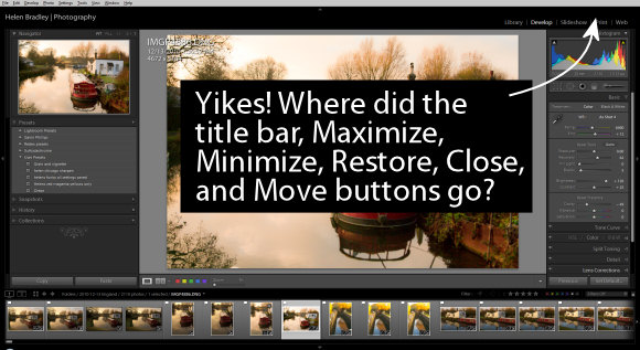 Lightroom maximize minimize close restore size title bar missing