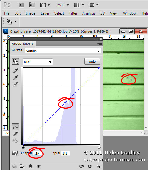 Image showing curves dialog and adjusting the Red green and blue curves to match the RGB values of the chosen Pantone or CMYK color