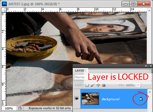 How to unlock a layer in Photoshop and Photoshop Elements