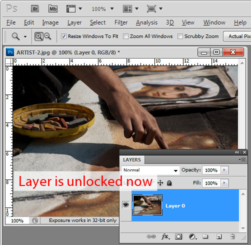Photoshop how to unlock a layer step2 Unlocking layers in Photoshop