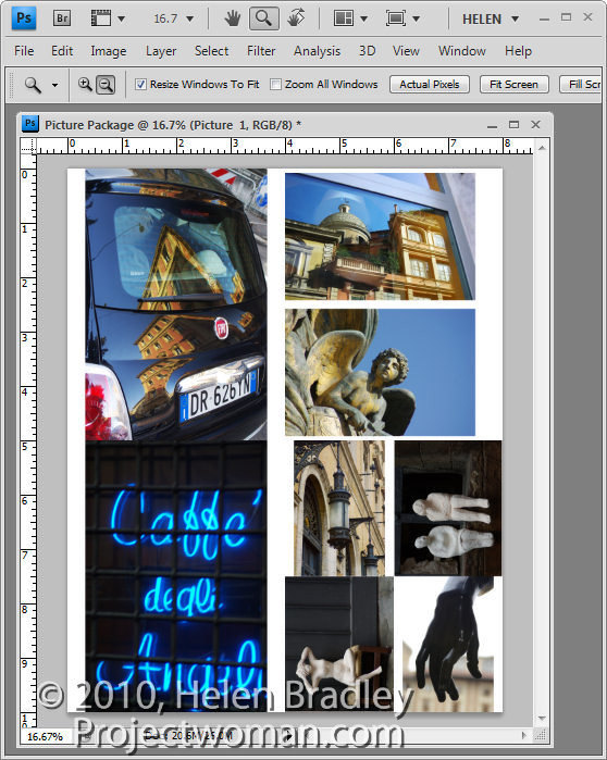 Photoshop picture package step9 Multiple image printing in Photoshop CS4 & CS5