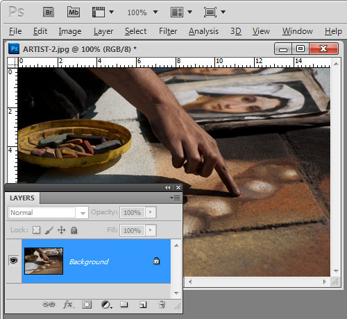 Unlock the Background layer in Photoshop