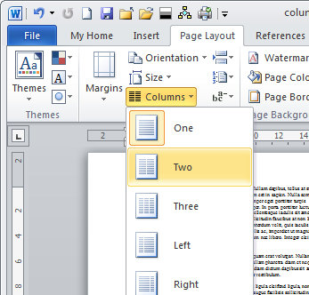 Create two columns in Word and remove columns