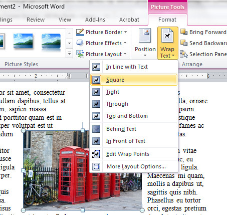 Word images span columns Picture between columns in Word