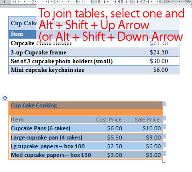 Join two tables together in Word « projectwoman.com
