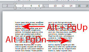 jump move and switch between columns in Word