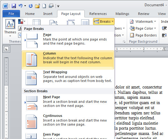 Word type text in second column Typing in the second column in Word