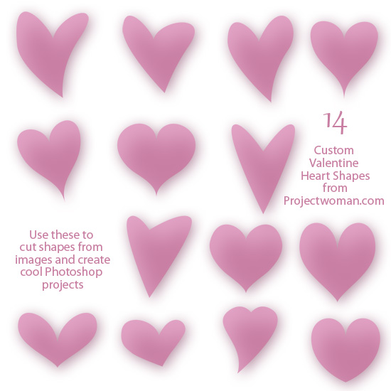 free download 14 valentine heart shapes for photoshop