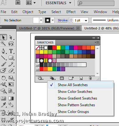 how to add color swatches in illustrator